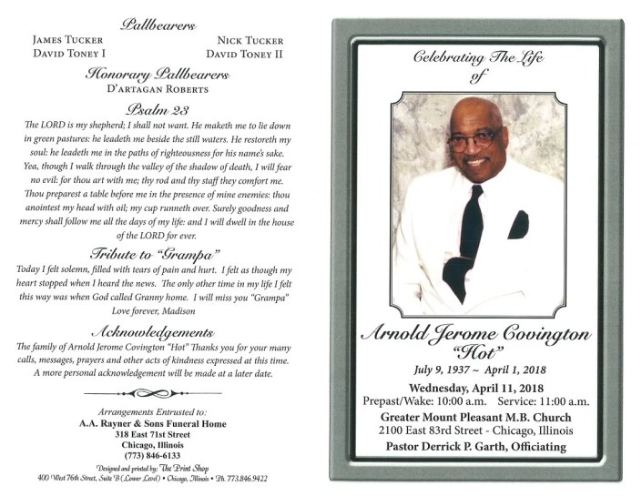 Arnold Jerome Covington Obituary AA rayner and Sons funeral Home