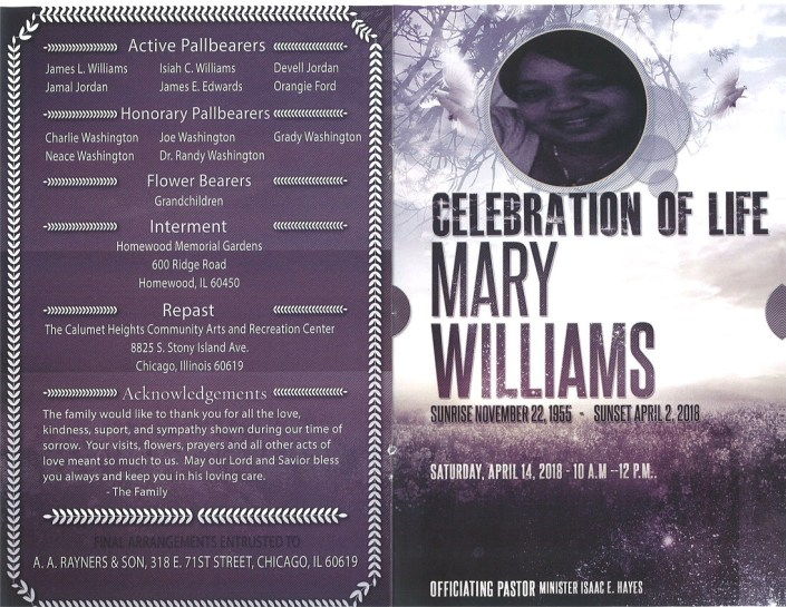 Mary Williams Obituary AA Rayner and sons funeral home chicago