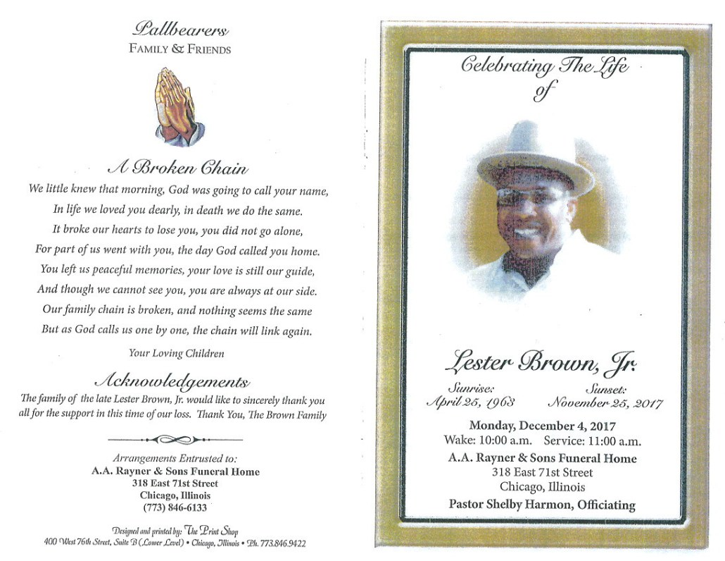 Lester Brown Jr Obituary