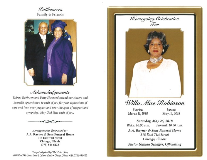 Willa Mae Robinson Obituary