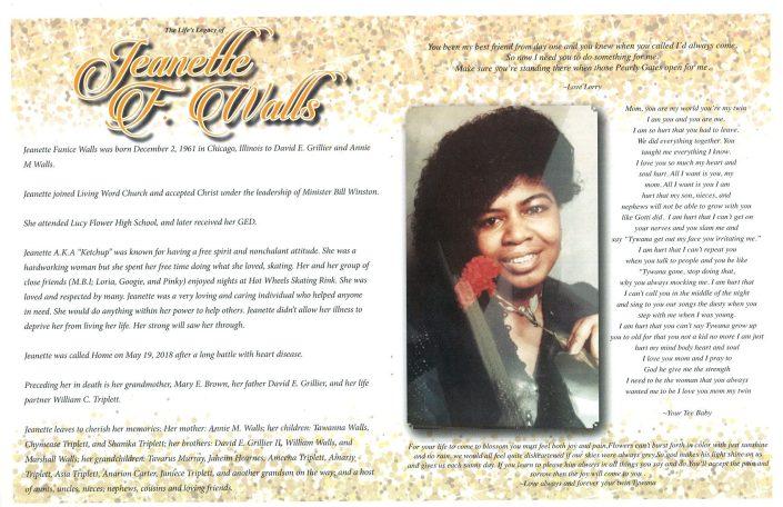 Jeanette F Walls Obituary
