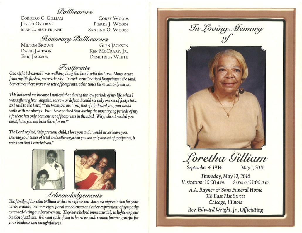 Loretha Gilliam Obituary