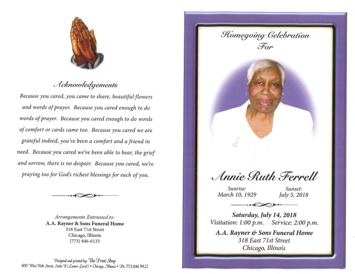 Annie Ruth Ferrell Obituary