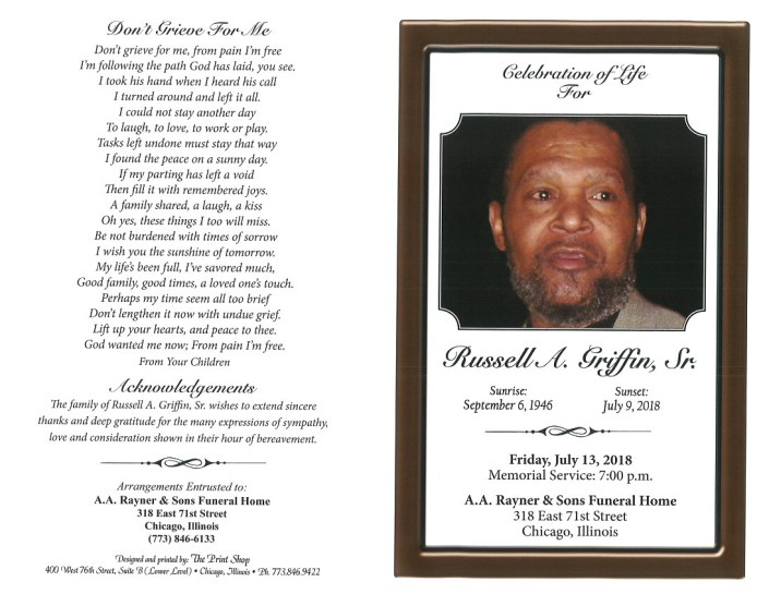 Russell A Griffin Sr Obituary