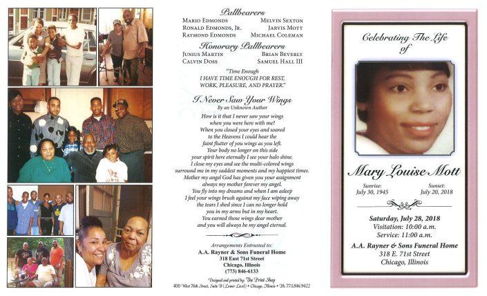 Mary Louise Mott Obituary