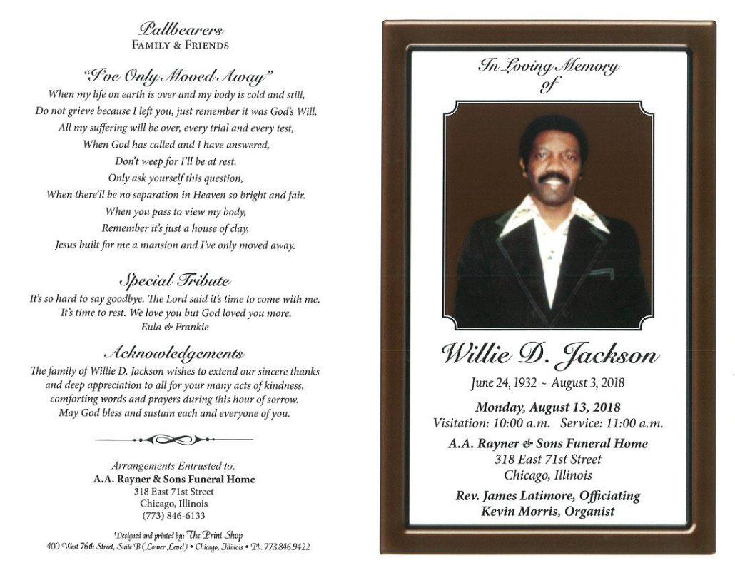 Willie D Jackson Obituary