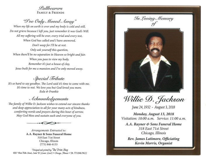 Willie D Jackson Obituary
