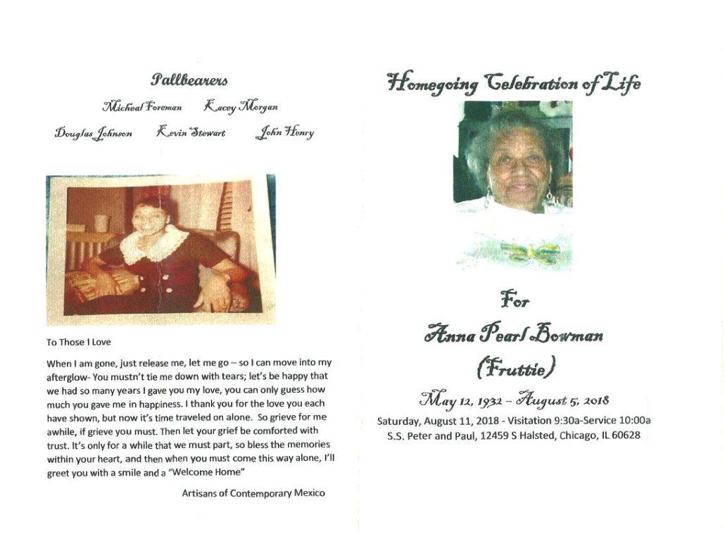 Anna Pearl Bowman Obituary