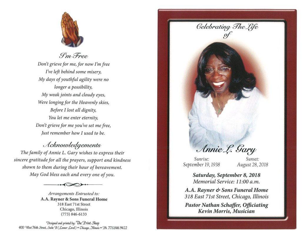 Annie L Gary Obituary