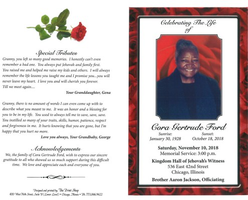 Cora Gertrude Ford Obituary