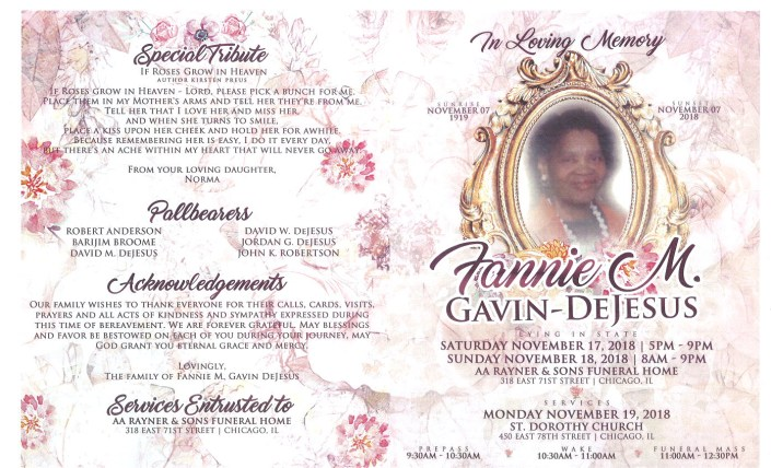 Fannie M Gavin Dejesus Obituary
