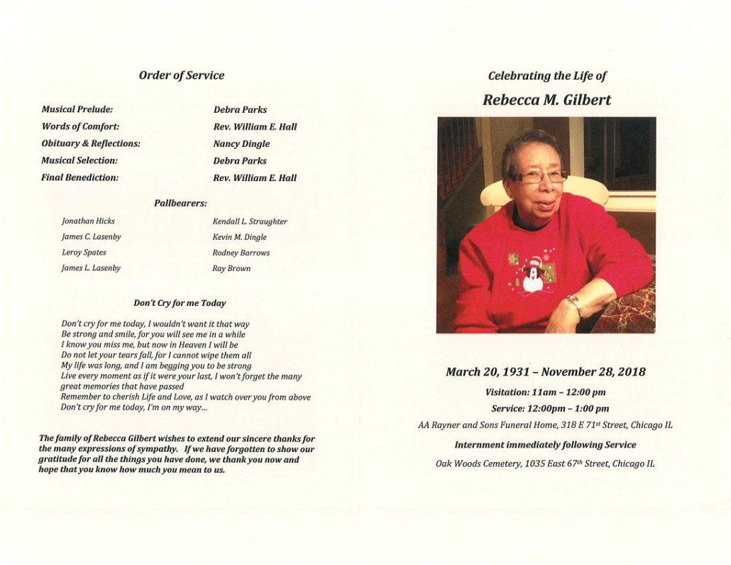 Rebecca M Gilbert Obituary