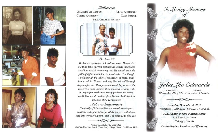 Julia Lee Edwards Obituary