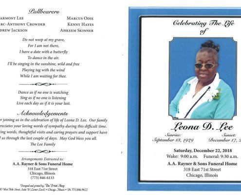 Leona D Lee Obituary