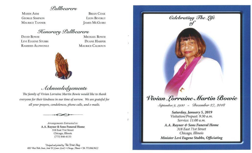 Vivian Lorraine Martin Bowie Obituary
