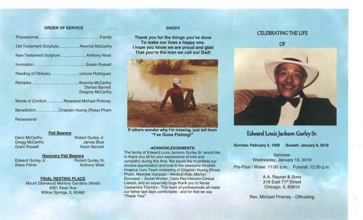 Edward Louis Jackson Gurley Sr Obituary