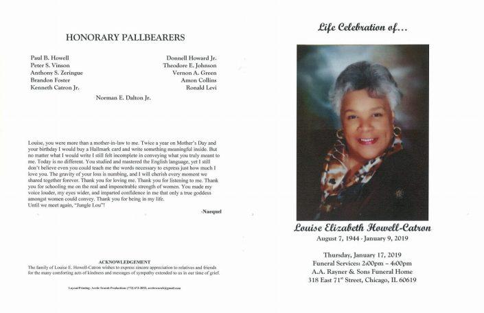 Louise Elizabeth Howell Catron Obituary