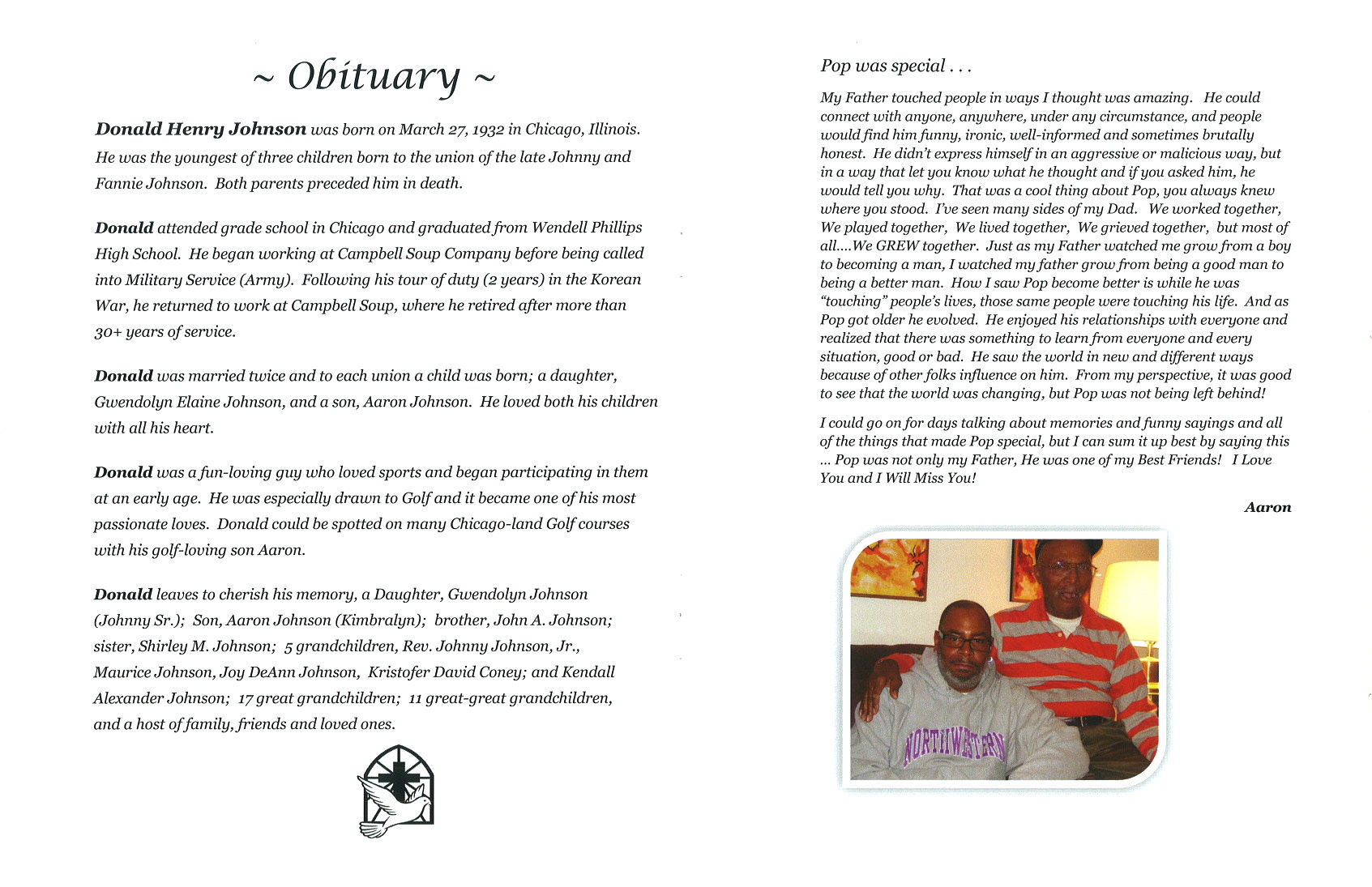 Donald Henry Johnson Obituary | AA Rayner and Sons Funeral Home