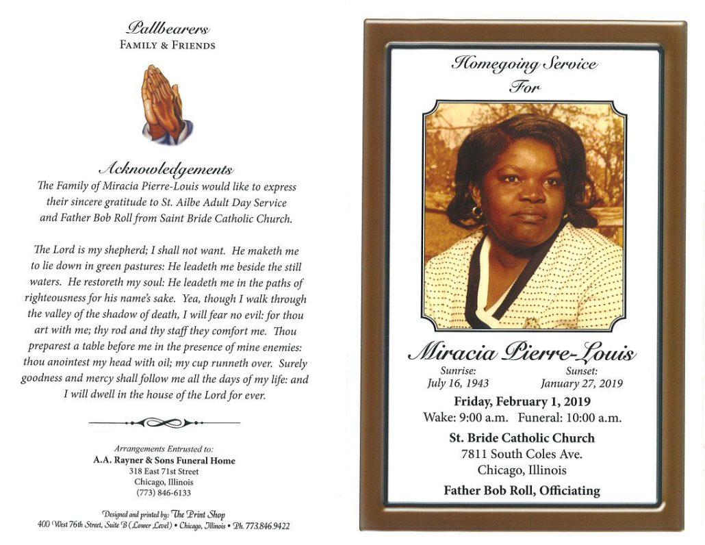 Miracia Pierre Louis Obituary