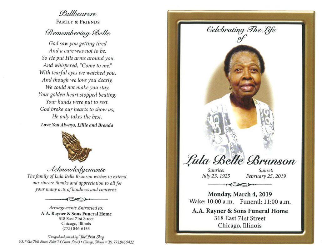 lula belle brunson obituary