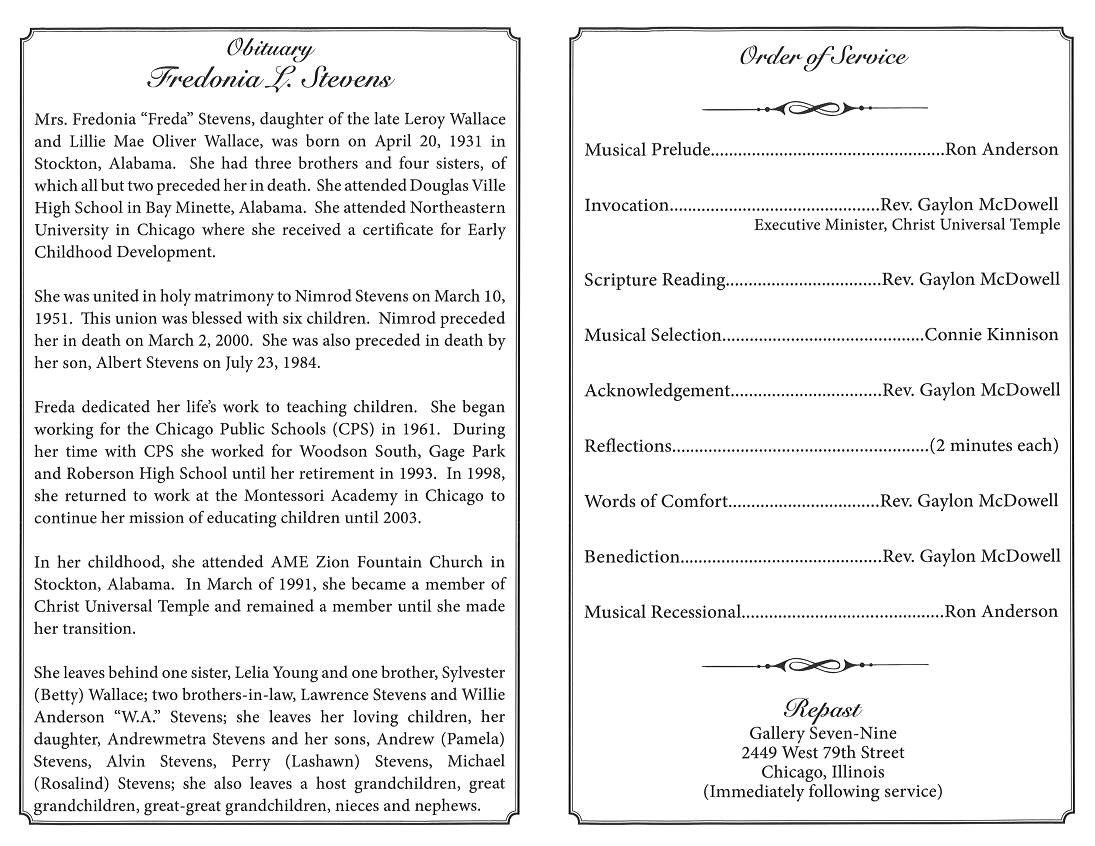 Fredonia L Stevens Obituary – AA Rayner and Sons Funeral Home