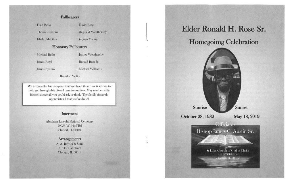 Elder Ronald H rose Sr Obituary