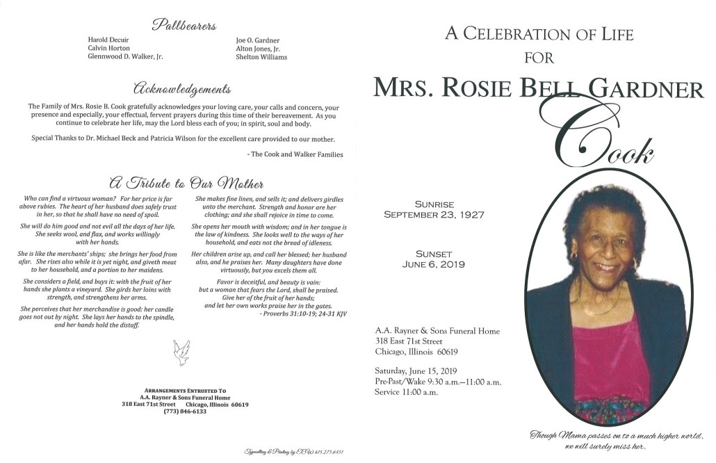 Mrs Rosie Bell Gardner Cook Obituary