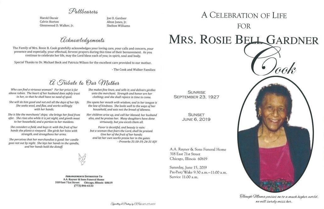 Mrs Rosie Bell Gardner Cook Obituary