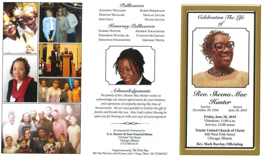 Rev Sheena Mae Hunter Obituary