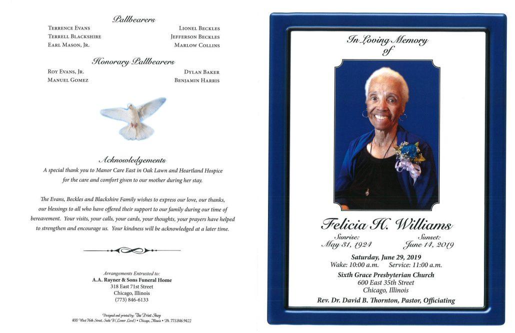 Felicia H Williams Obituary