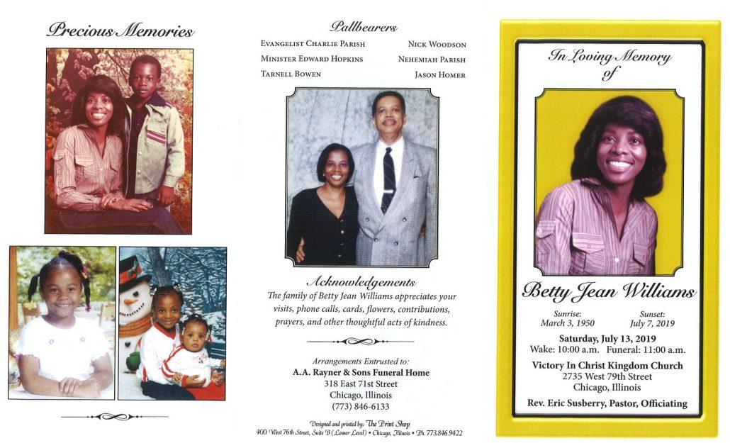 Betty Jean Williams Obituary