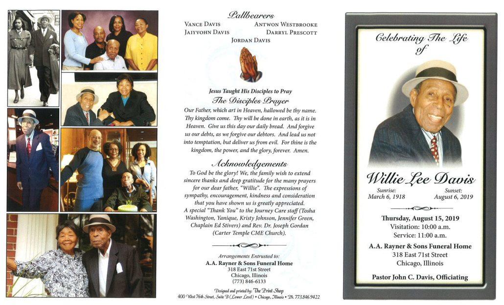 Willie L Davis Obituary