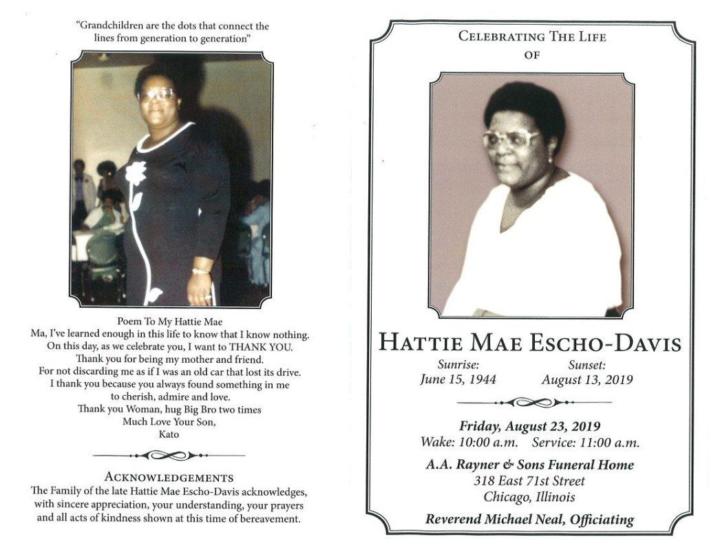 Hattie Mae Escho-davis Obituary