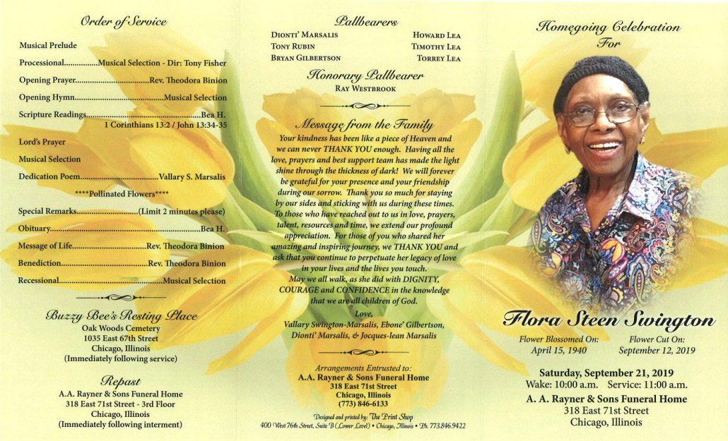 Flora S Swington Obituary
