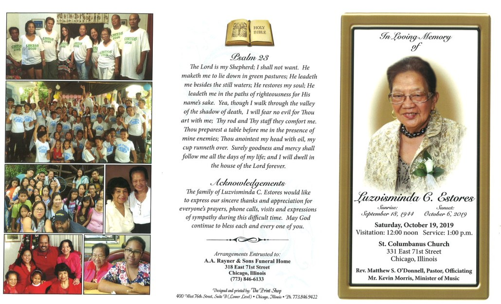 Luzvisminda C Estores Obituary