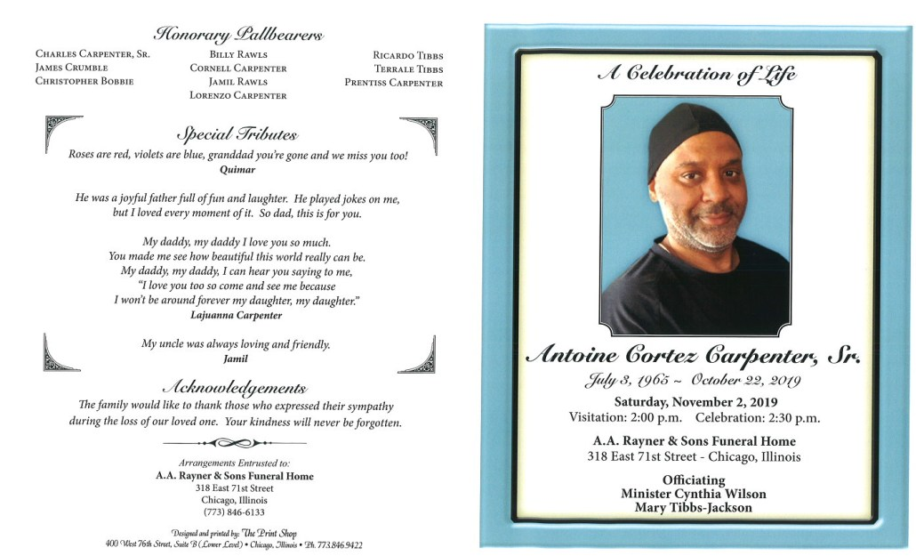 Antoine C Carpenter Sr Obituary