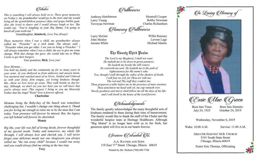 Essie m Green Obituary