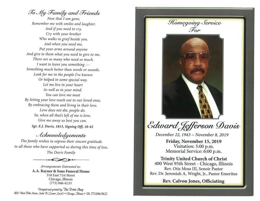 Edward J Davis Obituary