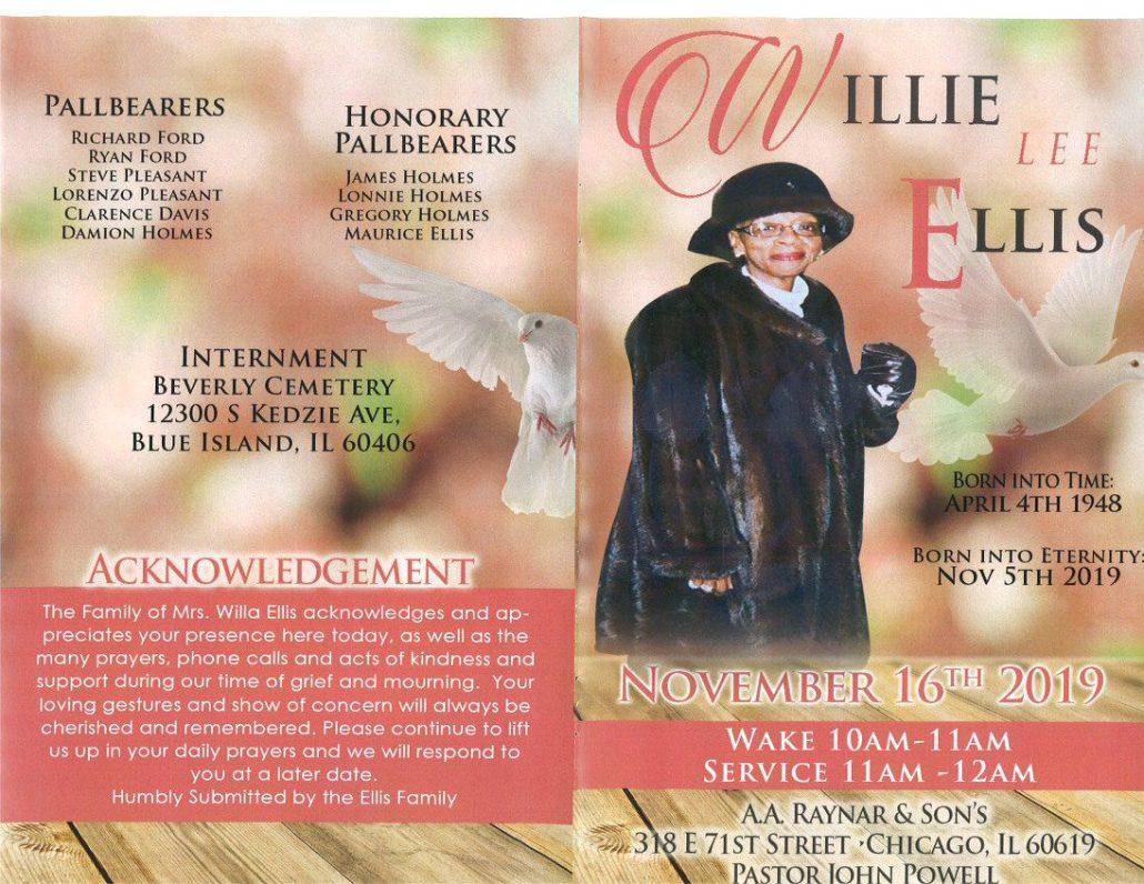 Willie L Ellis Obituary