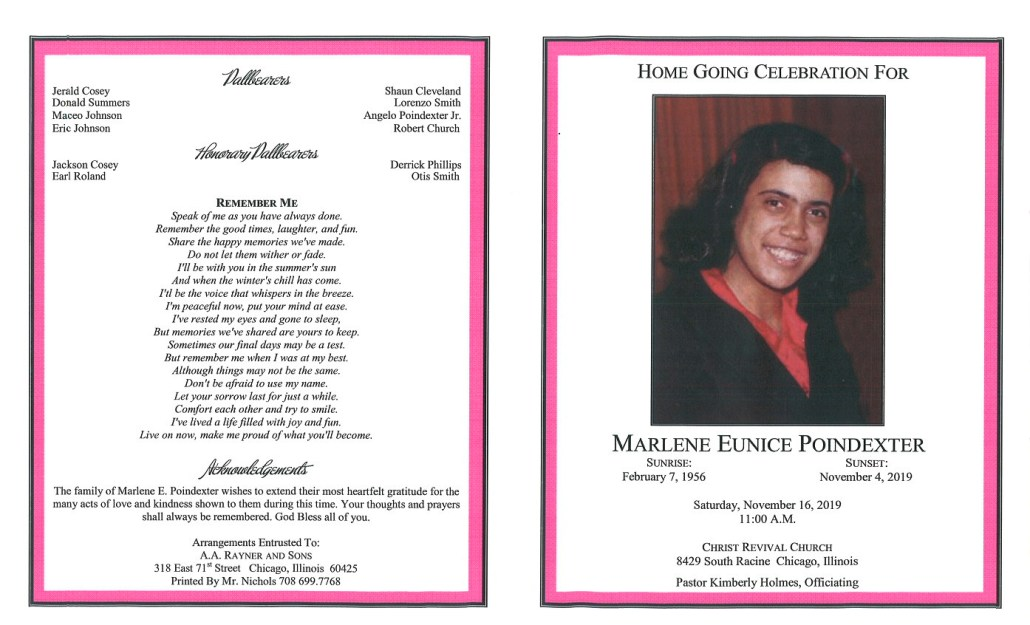 Marlene E Poindexter Obituary