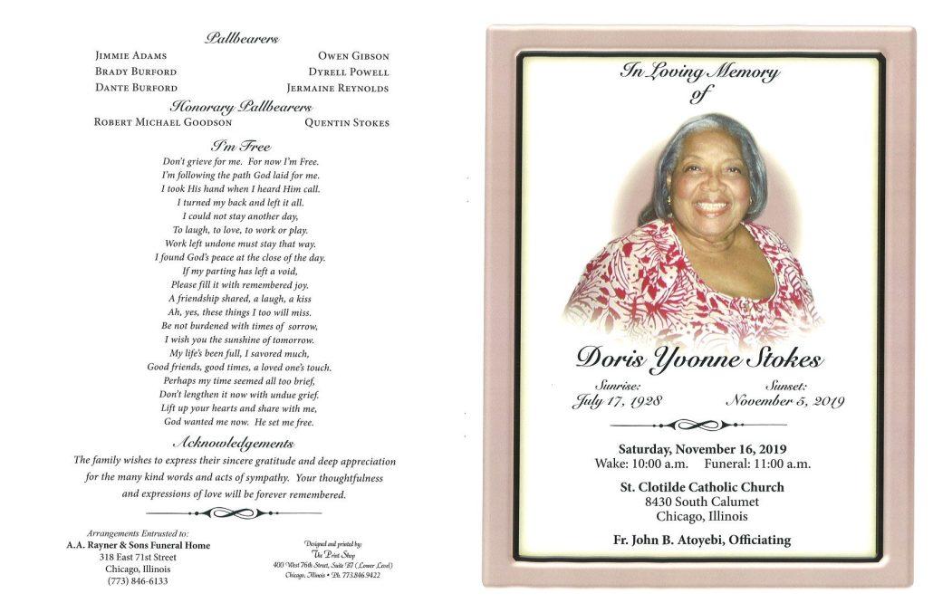 Doris Y Stokes Obituary