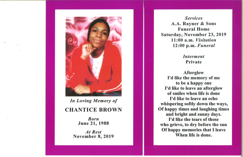 Chantice Brown Obituary