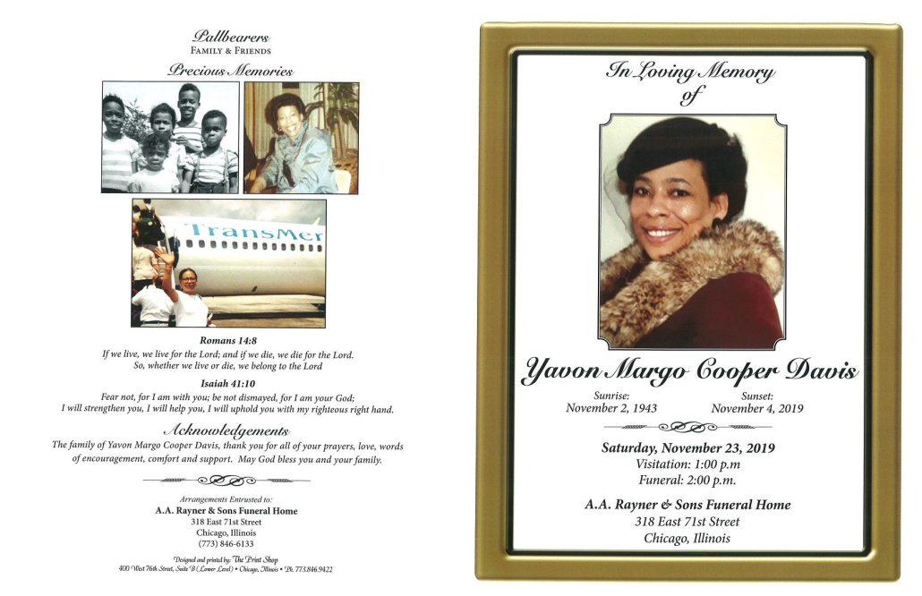 Yavon Margo Cooper Davis Obituary