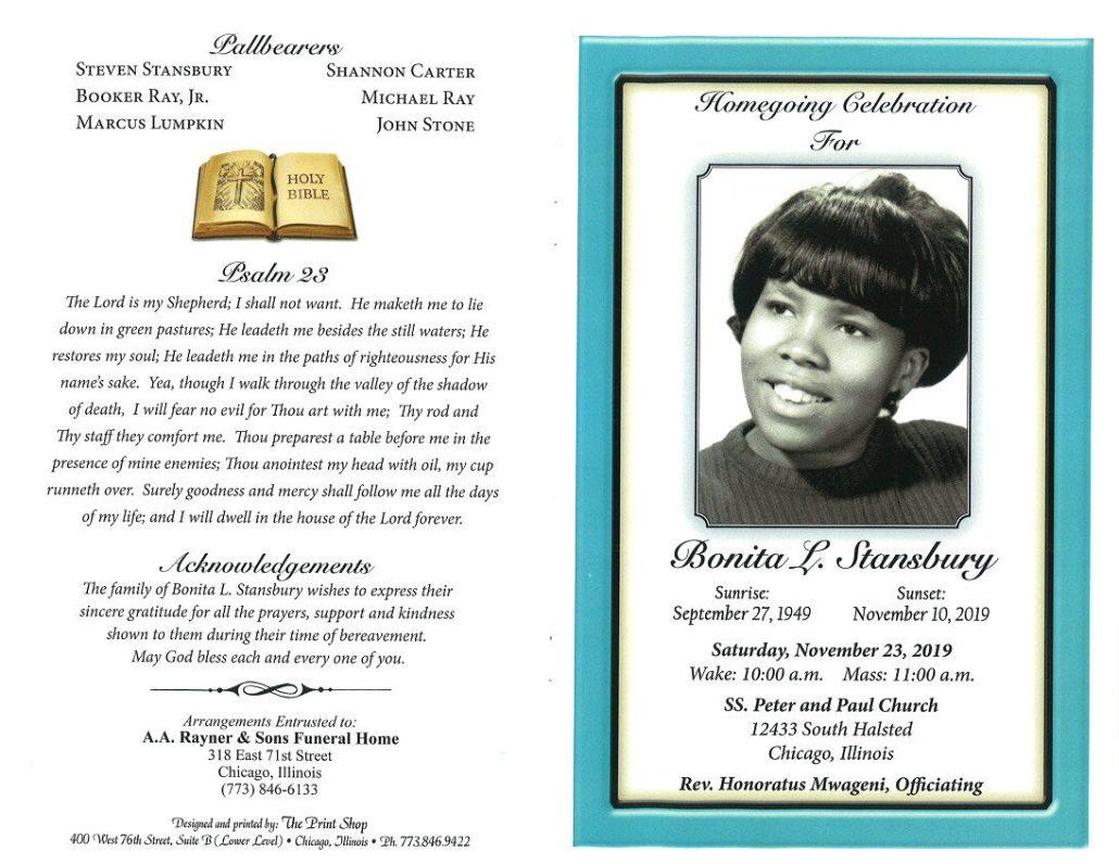 Bonita L Stansbury Obituary
