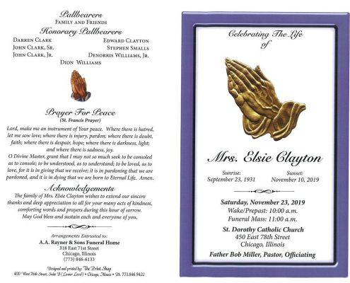Mrs Elsie Clayton Obituary