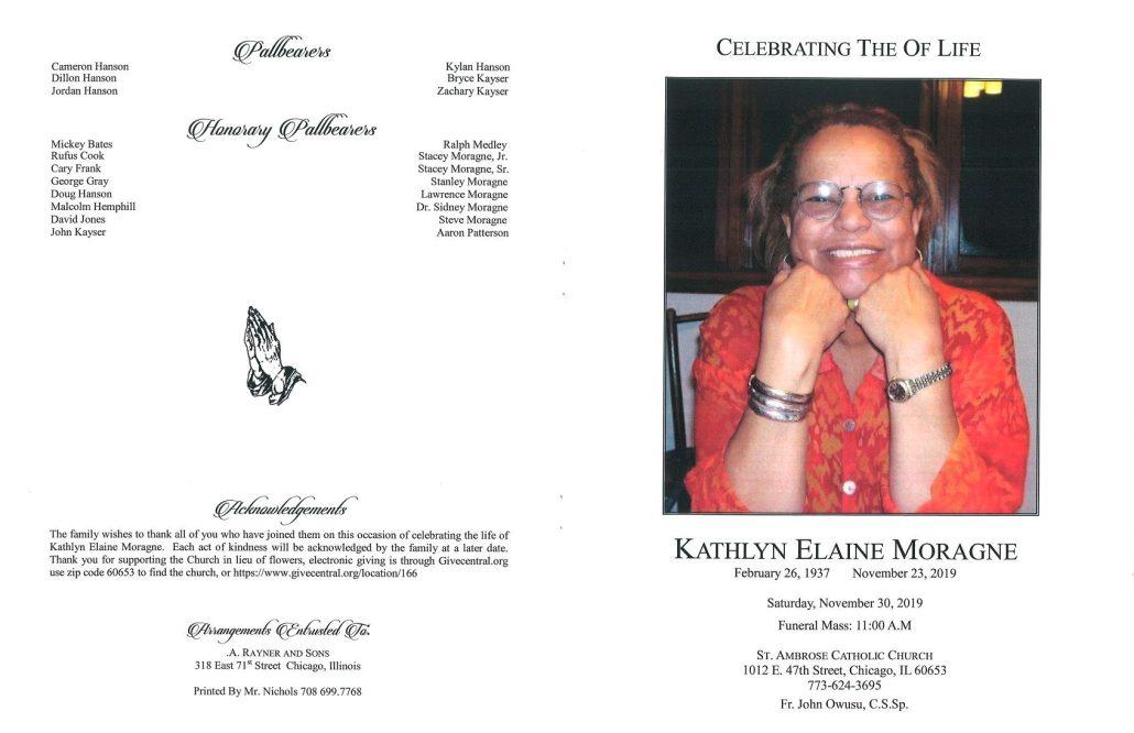 Kathlyn E Moragne Obituary