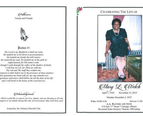 Mary L Welch Obituary