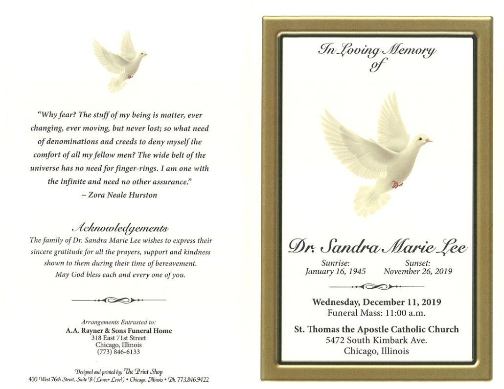 Dr Sandra Marie Lee Obituary
