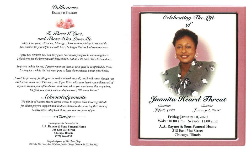 Juanita H Threat Obituary