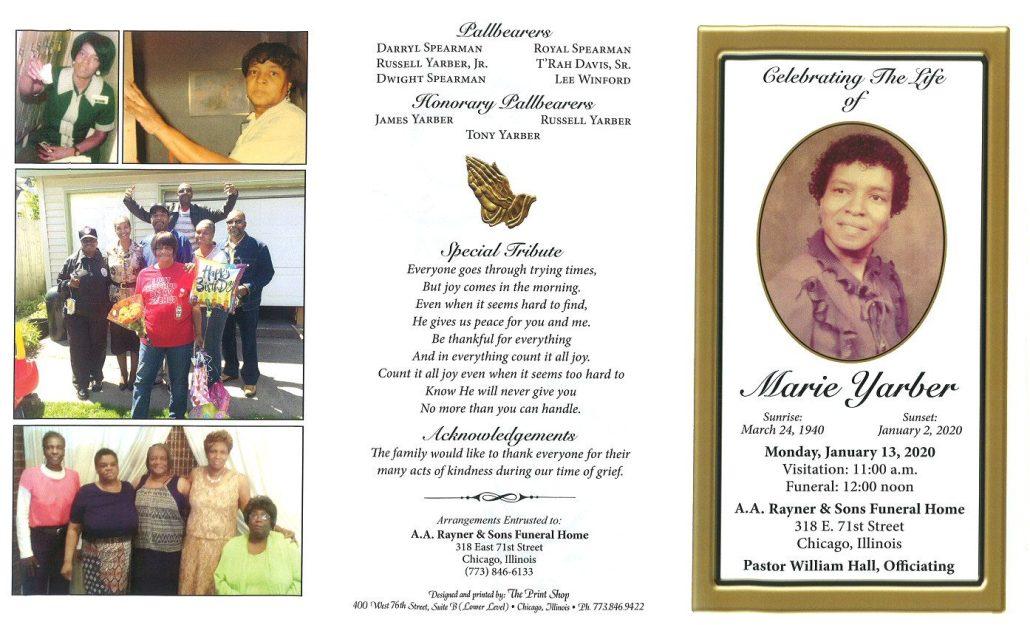 Marie Yarber Obituary